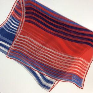Vera Neumann Red White Blue Stripe Sheer Scarf